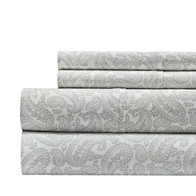 Agueda Paisley Print 300 Thread Count 100% Cotton 4 Piece Sheet Set Color: Gray, Size: King