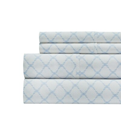 Alfonso Lattice Print 300 Thread Count 100% Cotton 4 Piece Sheet Set Size: King, Color: Blue