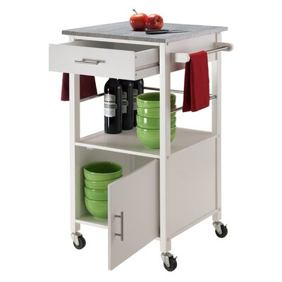 Davenport Kitchen Cart with Granite Top Base Finish: White