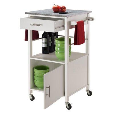 Davenport Kitchen Cart with Granite Top Base Finish: White