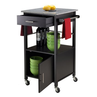 Davenport Kitchen Cart with Granite Top Base Finish: Black
