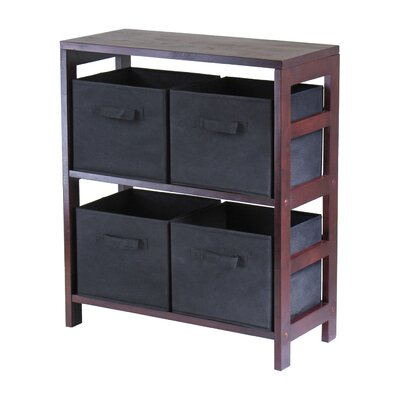 Winsome Capri Low Storage Shelf with 4 Foldable Black Fabric Baskets at Sears.com