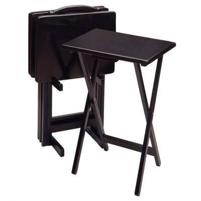 Basics Folding TV Tray Set with Stand Finish: Black