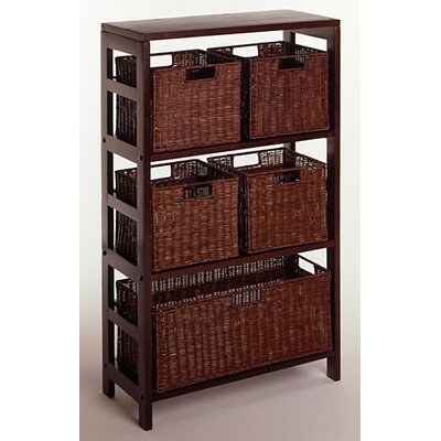 Winsome Espresso Wide 3 Section Storage Shelf with Baskets at Sears.com