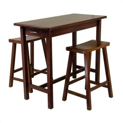 Cheap Winsome Walnut 3 Piece Breakfast Table w/ Two Saddle Seat Stools in Antique Walnut (WN1273)