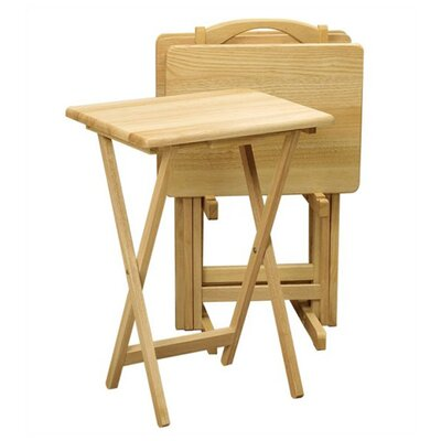 Basics Folding TV Tray Set with Stand Finish: Beechwood