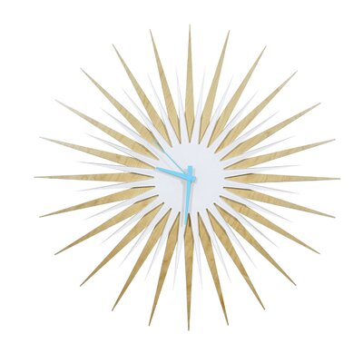 "Oversized 23"" Atomic Wall Clock Finish: Maple, Face / Hand Color: White / Blue"