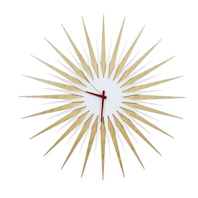 Metal Art Studio Atomic Wall Clock - Finish: Maple Face and Hand Color: White / Red