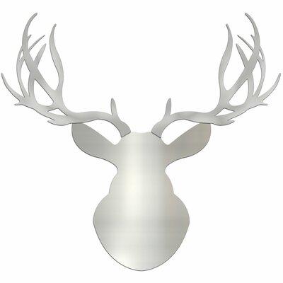 Silver Buck / Large Metallic Deer Wall Sculpture Silhouette Cutout