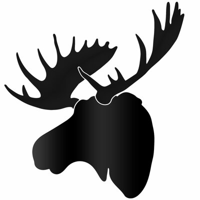 Midnight Moose / Large Pure Black Moose Wall Sculpture Silhouette Cutout