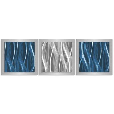 Essence by Nicholas Yust 3 Piece Graphic Art Plaque Set Color: Blue/Silver L0158