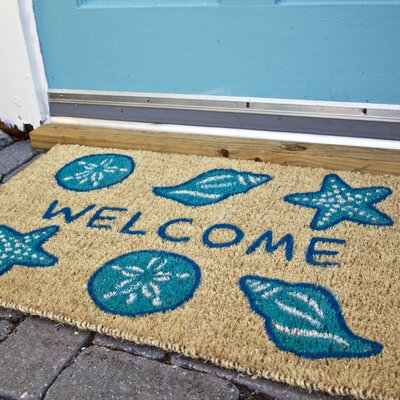 Juney Shells Welcome Doormat Size: 1'6 x 2'6