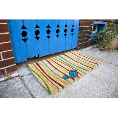 Lattimer Little Groovy Bird Doormat Mat Size: Rectangle 18 x 30