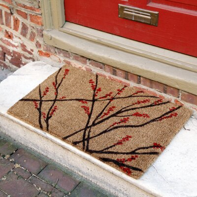 Caitlyn Winter Berries Doormat Size: Rectangle 18 x 30