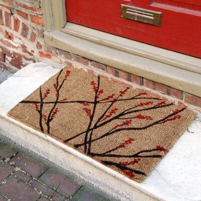 Caitlyn Winter Berries Doormat Mat Size: Rectangle 18 x 30