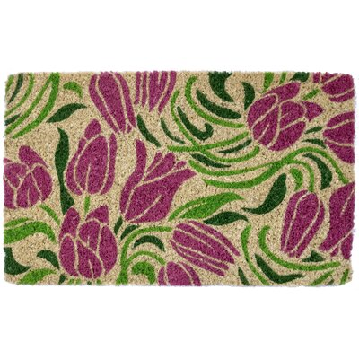 Blushing Tulips Handwoven Doormat