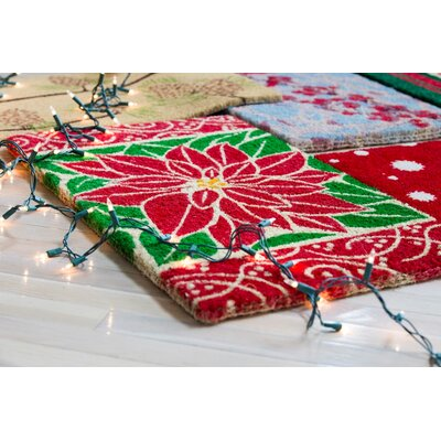 Perfect Poinsettia Hand-Woven Coir Doormat