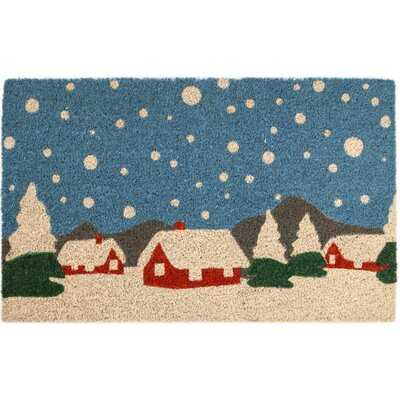 Sweet Home Snowy Village Non-Slip Coir Doormat