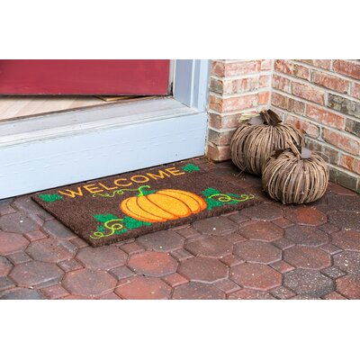 Sweet Home Welcome Pumpkin Non-Slip Coir Doormat