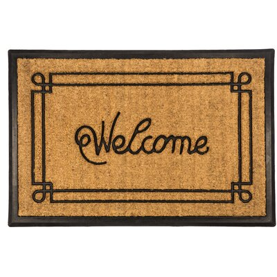 Bootscraper Welcome with Border Recycled Rubber and Coir Door Mat Mat Size: Rectangle 16 x 26