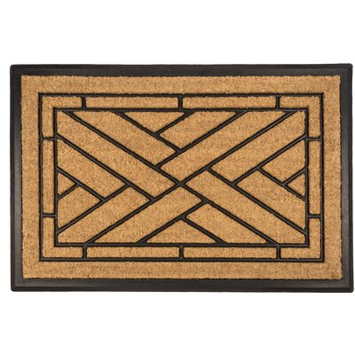 Bootscraper Diagonal Tiles Recycled Rubber and Coir Door Mat Rug Size: 16 x 26