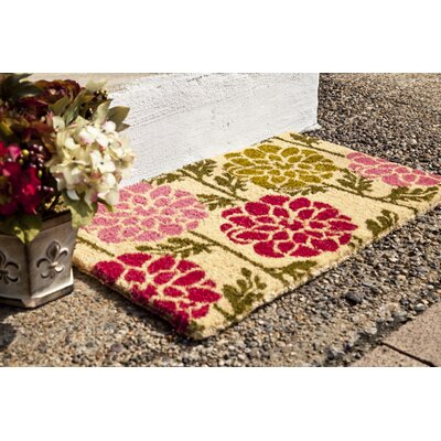 Caitlyn Dahlias Doormat Mat Size: Rectangle 18 x 30