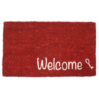 Key Welcome Handwoven Coconut Fiber Doormat