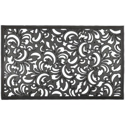 Recycled Rubber Scroll Flowers Doormat