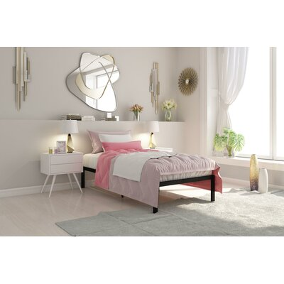 Nageshwar Metal Frame Platform Bed Size: Twin, Color: Black