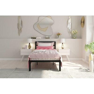 Nageshwar Platform Bed Size: Twin, Finish: Black