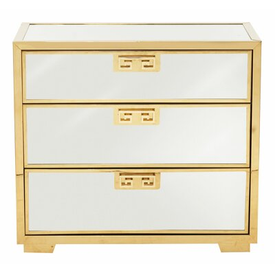 Soho Luxe Mirror 3 Drawer Nightstand