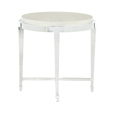 Criteria Round Metal and Leather End Table