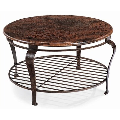 round hammered metal coffee table
