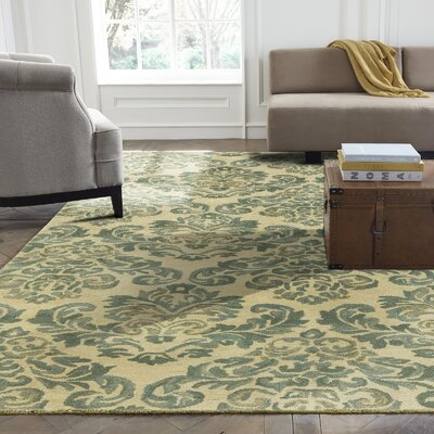 Katelynn Hand-Tufted Beige/Green Area Rug Rug Size: 36 x 56