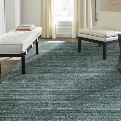 Melisa Cerulean Heather Hand-Woven Blue Area Rug Rug Size: 56 x 86