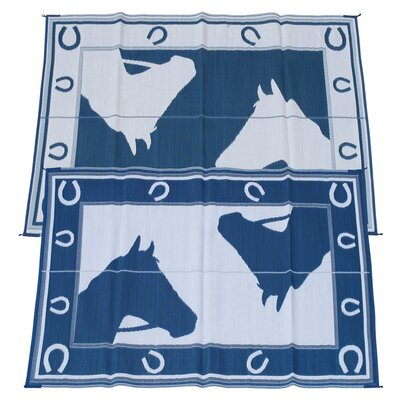 Horseshoe Doormat Rug Size: 6 x 9, Color: Blue