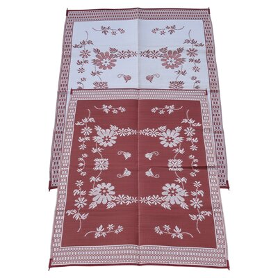 Garden Floral Doormat Color: Burgundy, Rug Size: 6 x 9