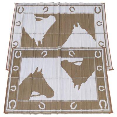Horseshoe Doormat Rug Size: 6 x 9, Color: Chocolate