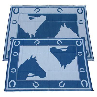 Horseshoe Doormat Color: Blue, Rug Size: 9 x 12