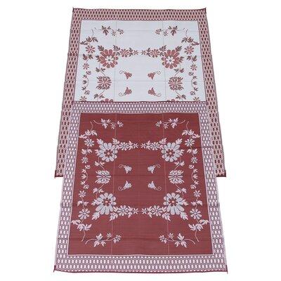 Garden Floral Doormat Rug Size: 9 x 12, Color: Burgundy