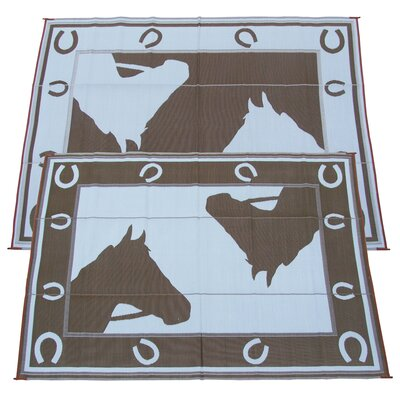 Horseshoe Doormat Color: Chocolate, Rug Size: 9 x 12
