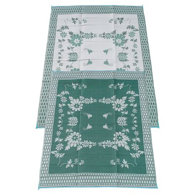 Garden Floral Doormat Rug Size: 9 x 12, Color: Green