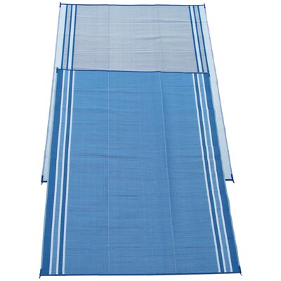 Stripe Doormat Color: Haw Blue, Rug Size: 9 x 12