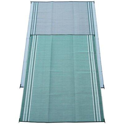 Stripe Doormat Color: Teal Green, Rug Size: 9 x 12