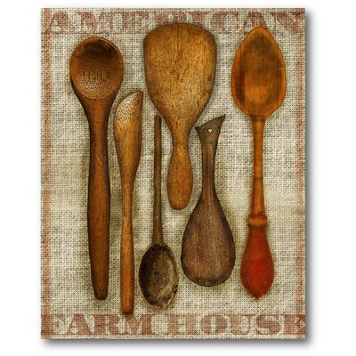 Farmhouse Wooden Spoons Graphic Art On Canvas