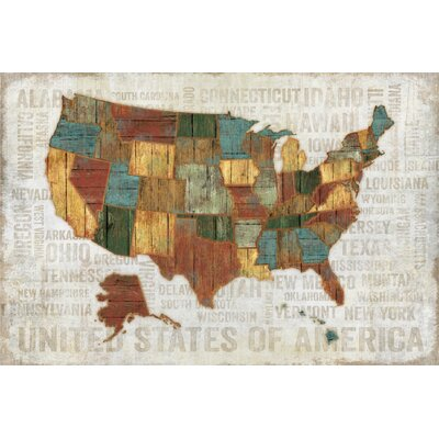 Farmhouse Canvas United States Graphic Art On Wrapped Canvas