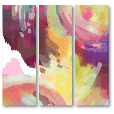 'Abstract Pink' Graphic Print Multi-Piece Image on Canvas