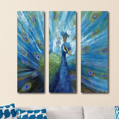 'Peacock' Print Multi-Piece Image on Canvas