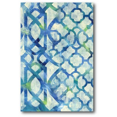 'Lattice Blue Screen' Graphic Art Print on Wrapped Canvas
