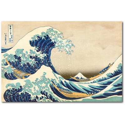 'The Great Wave Off Kanagawa' Graphic Art Print on Wrapped Canvas